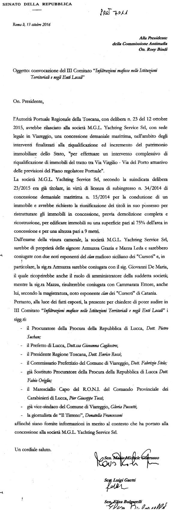 Richiesta audizione in Commissione Antimafia
